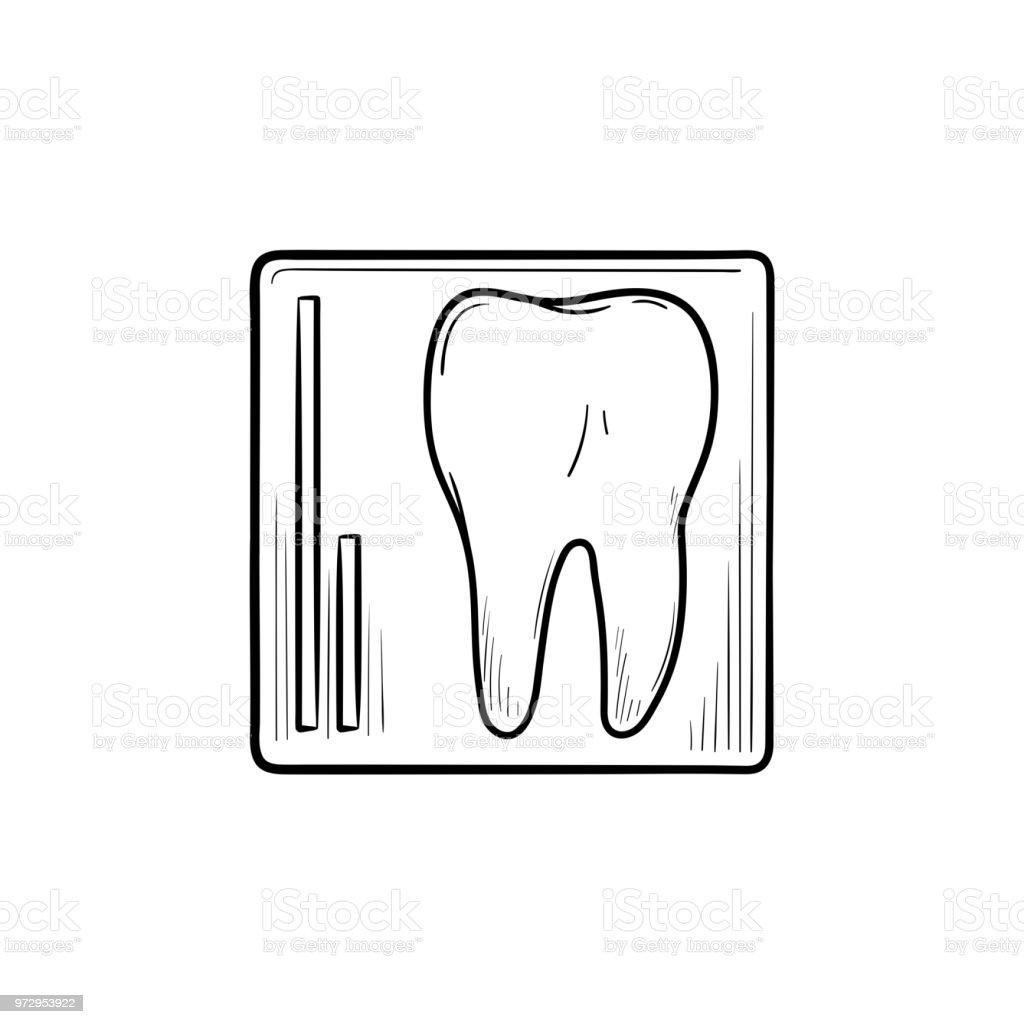 Ilustración de Esquema De Dibujado A Mano De Rayos X Dental Doodle ...