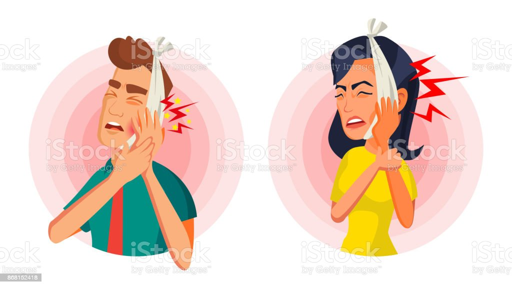 Toothache Concept Vector. Oral Toothache Concept. Sad Patient Suffering From Toothache. Cartoon Character Illustration vector art illustration