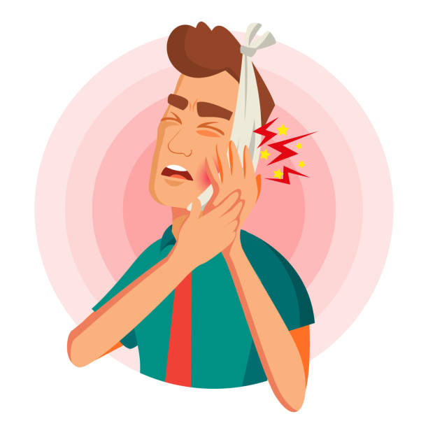 Toothache Concept Vector. Unhappy Man With Ache. Pain In The Human Body. Flat Cartoon Illustration Man With Toothache Vector. Man With Toothache And Bandage. Concept For Dentist, Diseases, Tooth Day. Isolated On White Cartoon Character Illustration human jaw bone stock illustrations