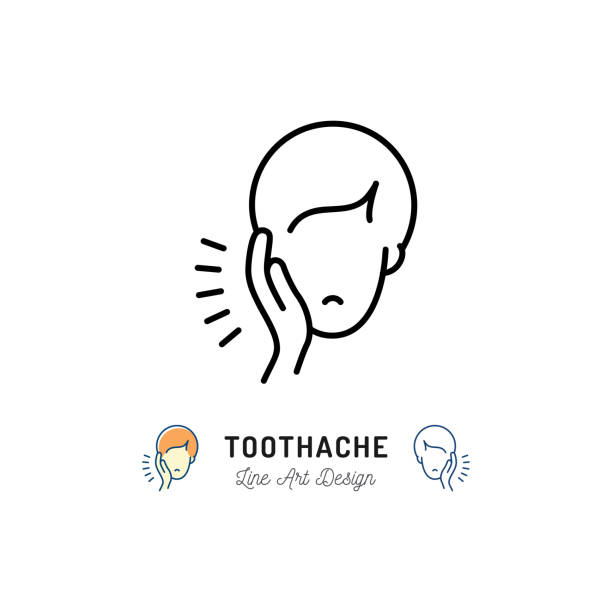 Toothache icon, Dental pain sign. Man with toothache jaw pain, Dental diseases. Vector illustration Toothache icon, Dental pain sign. Man with toothache jaw pain, Dental diseases. Vector flat illustration human jaw bone stock illustrations