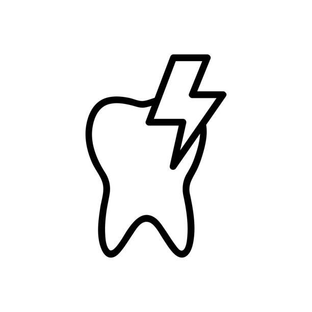 stockillustraties, clipart, cartoons en iconen met tandpijn pictogram vector. geïsoleerde contour symbool illustratie - streptococcus mutans