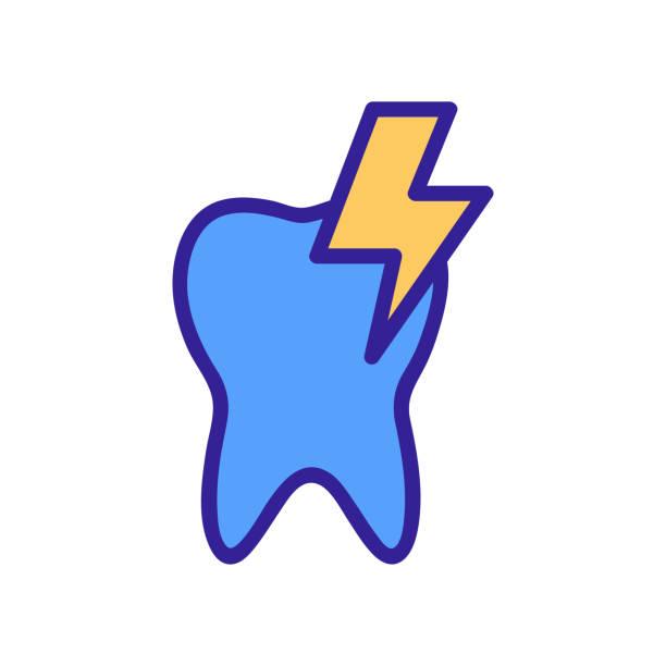stockillustraties, clipart, cartoons en iconen met kiespijn pictogram vector. geïsoleerde illustratie van het contoursymbool - streptococcus mutans