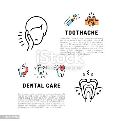 Toothache icons Dental care card. Dentistry thin line art icons, Stomatology flyer. Vector flat illustration