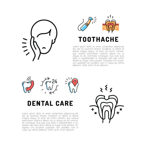toothache icons dental care card. dentistry thin line art icons, stomatology flyer - toothy smile stock illustrations
