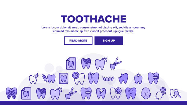 stockillustraties, clipart, cartoons en iconen met tandpijn landing header vector - streptococcus mutans