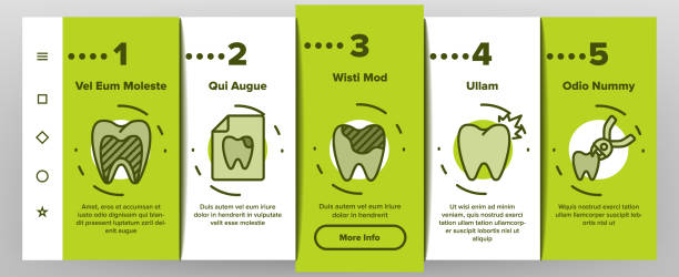 Toothache Onboarding Icons Set Vector Toothache Onboarding Mobile App Page Screen Vector. Dental Toothache And Caries, Enamel Damaged And Tooth Lost, Mouth Hygiene Illustrations streptococcus mutans stock illustrations