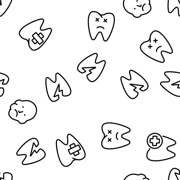 Toothache Vector Seamless Pattern Toothache Vector Seamless Pattern Thin Line Illustration streptococcus mutans stock illustrations