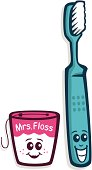 A blue cartoon toothbrush and pink floss smiling.