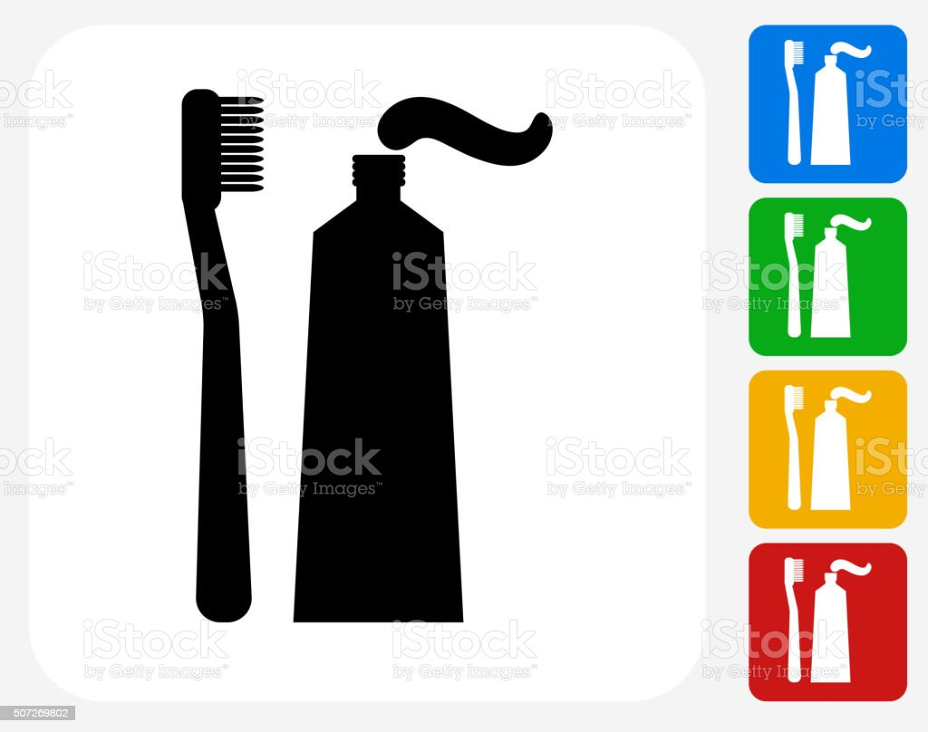 Toothbrush and Paste Icon Flat Graphic Design vector art illustration