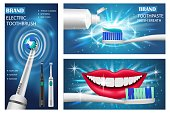 Toothbrush dental banner concept set. Realistic illustration of 3 toothbrush dental vector banner horizontal concepts for web