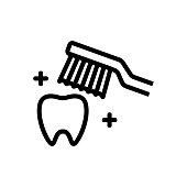 toothbrush cleans tooth icon vector. toothbrush cleans tooth sign. isolated contour symbol illustration