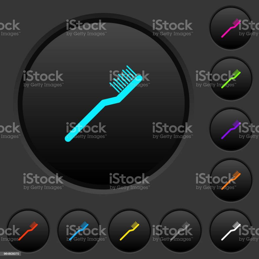 Toothbrush dark push buttons with color icons royalty-free toothbrush dark push buttons with color icons stock vector art & more images of bristle - brush part