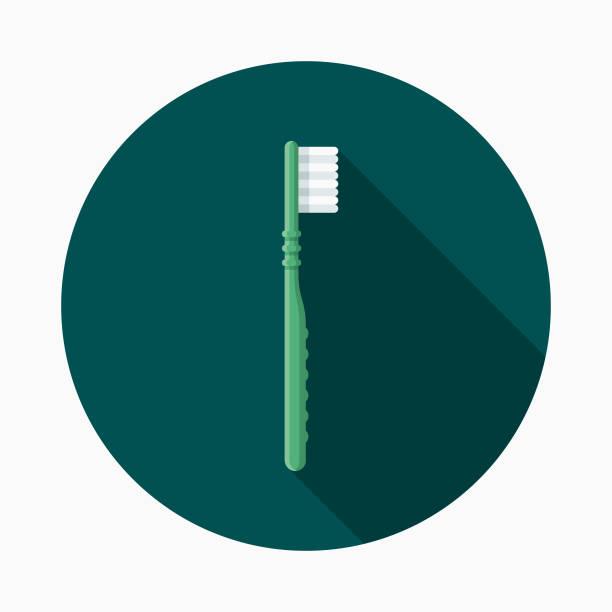zahnbürste flach zahnarzt designikone mit seite schatten - zähne putzen stock-grafiken, -clipart, -cartoons und -symbole