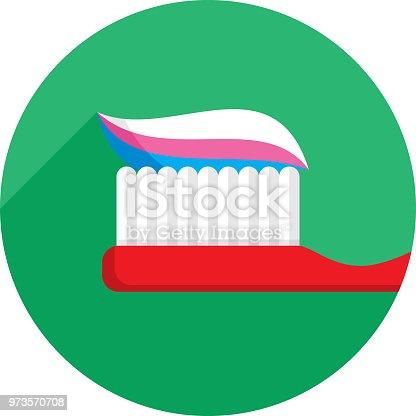 istock Toothbrush Icon Flat 973570708