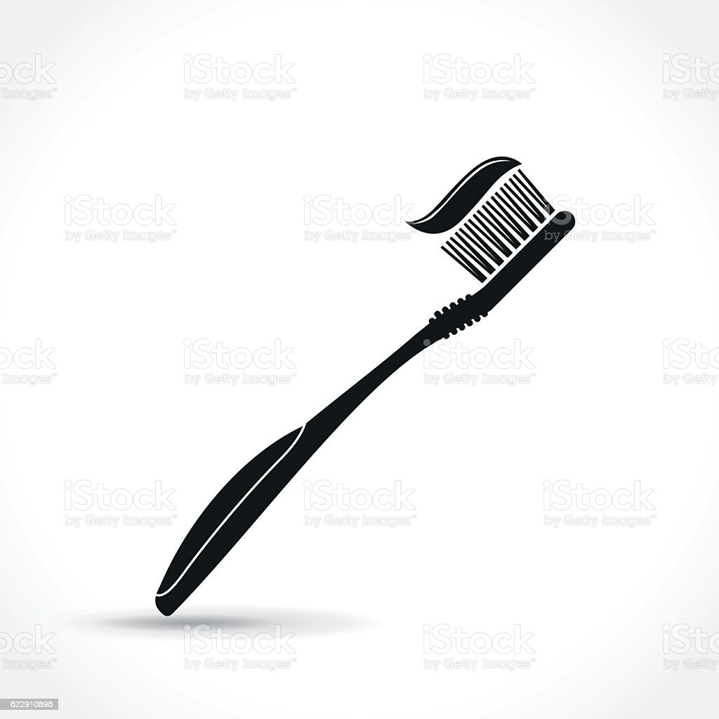 toothbrush icon on white background vector art illustration