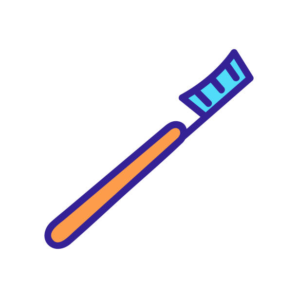 stockillustraties, clipart, cartoons en iconen met tandenborstel pictogram vector. geïsoleerde illustratie van het contoursymbool - streptococcus mutans