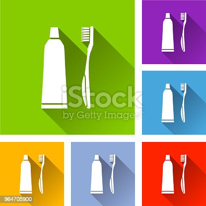 Toothbrush Icons With Long Shadow Stock Vector Art & More Images of Bathroom 964705900