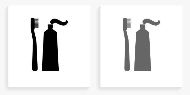 Toothbrush & Paste Black and White Square Icon vector art illustration