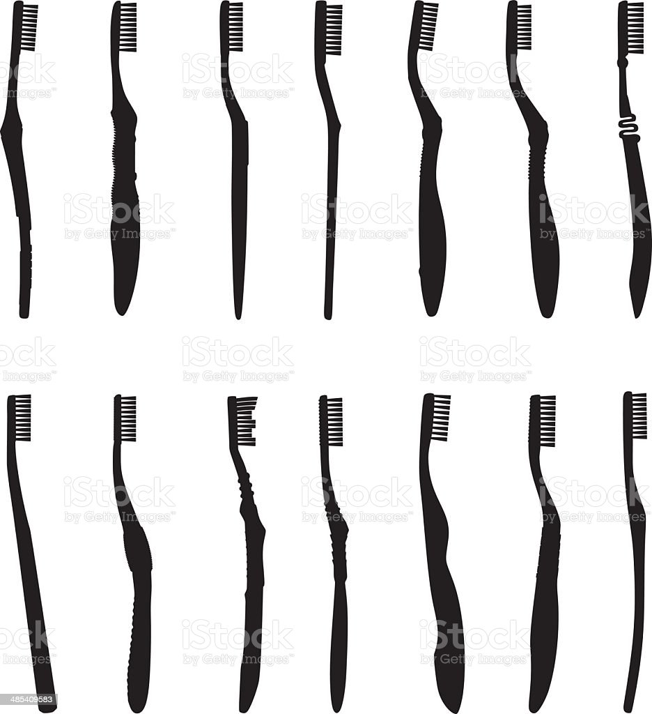 Toothbrush Silhouette vector art illustration