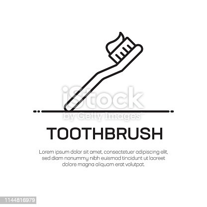 istock Toothbrush Vector Line Icon - Simple Thin Line Icon, Premium Quality Design Element 1144816979