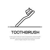 istock Toothbrush Vector Line Icon - Simple Thin Line Icon, Premium Quality Design Element 1144816979