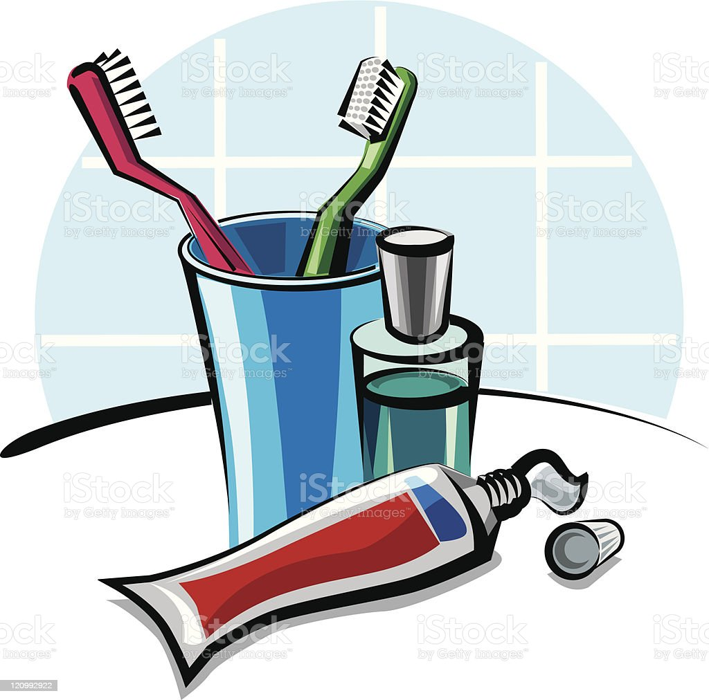 toothbrushes and toothpaste royalty-free stock vector art