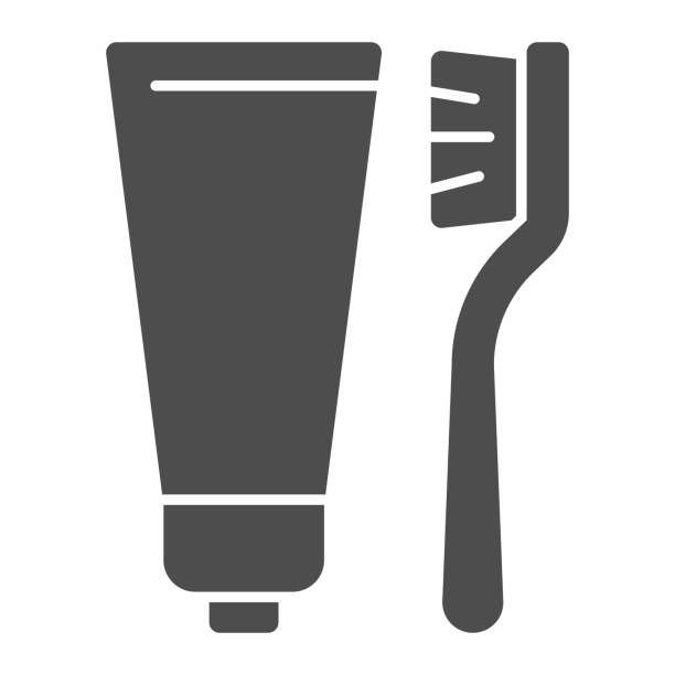 stockillustraties, clipart, cartoons en iconen met tandpasta en borstel stevig pictogram, het routineconcept van de hygiëne, tandenborstel en deegteken op witte achtergrond, tandpasta en tandenborstelpictogram in glyph stijl voor mobiel en web. vectorafbeeldingen. - stekels