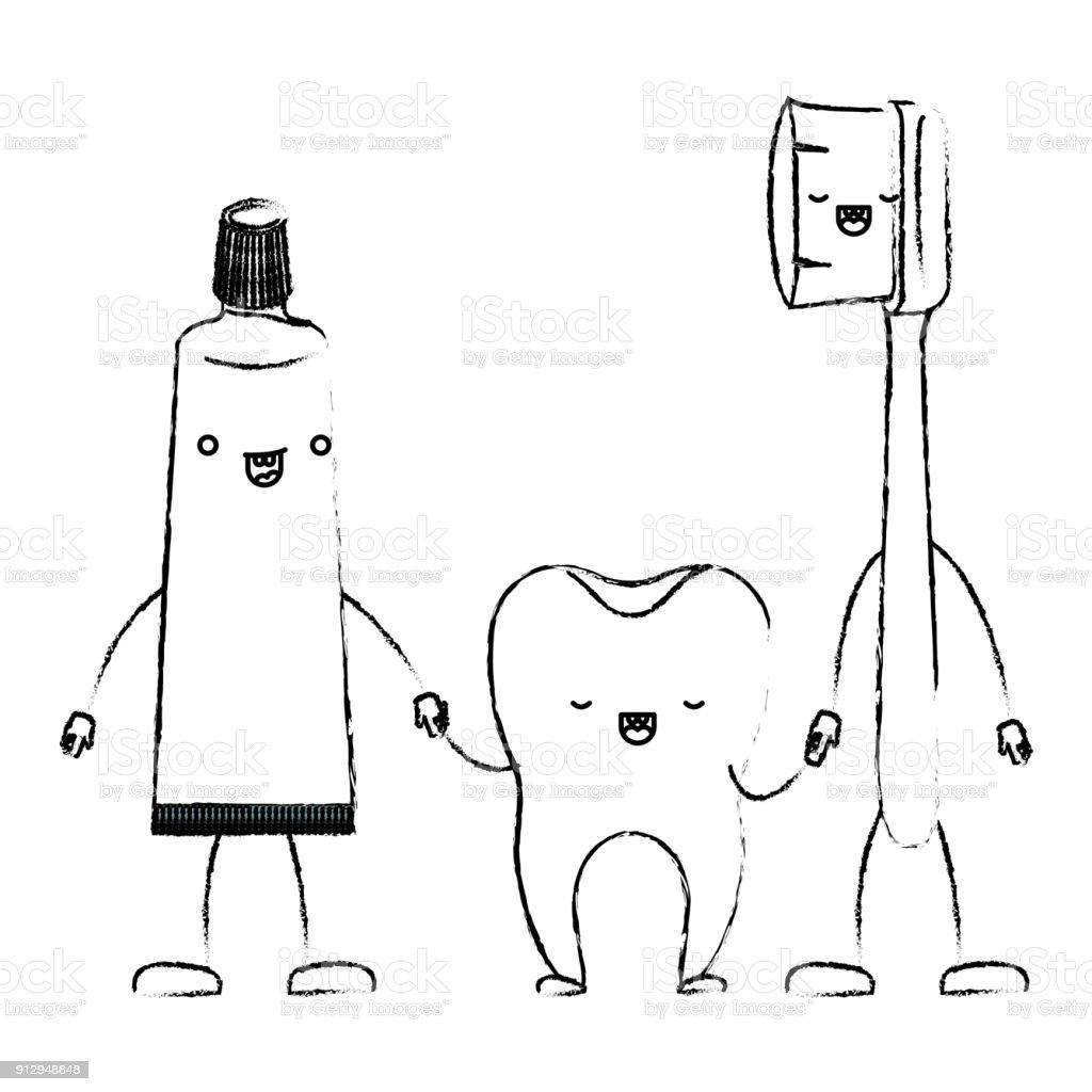 Diş Macunu Ve Diş Ve Diş Fırçası Elele Içinde Tek Renkli Karikatür