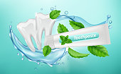 Toothpaste background. Dental poster design. Mint herbal toothpaste, white clean teeth vector banner. Mint dental antibacterial whitening toothpaste illustration