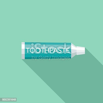 istock Toothpaste Flat Design Dentist Icon with Side Shadow 930281648