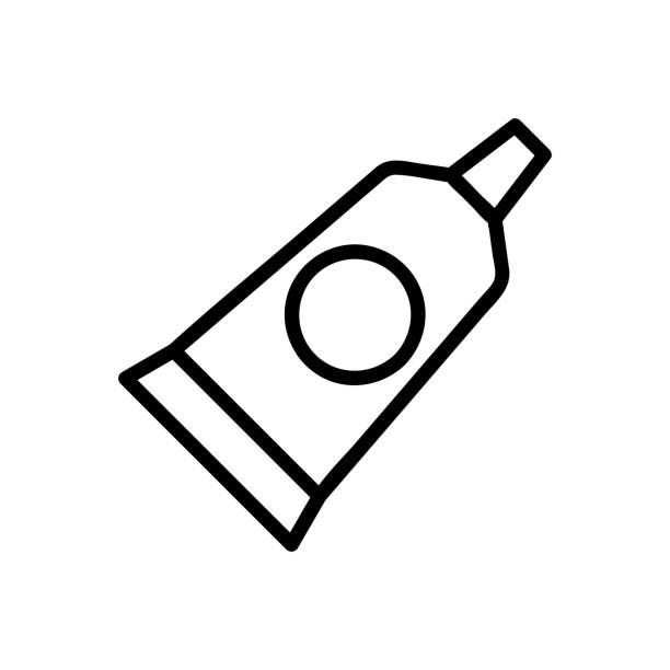 stockillustraties, clipart, cartoons en iconen met tandpasta pictogram vector. geïsoleerde contour symbool illustratie - streptococcus mutans