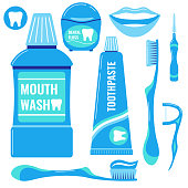 Toothpaste icons set isolated on white background. Tooth sign, mouth wash, dental floss, smile, toothbrush, interdental brush, flosser, paste on toothbrush vector flat dental signs for web design.