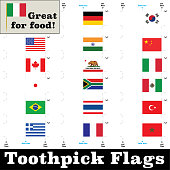 Toothpick Flags for different countries. Print them out, and create a flag