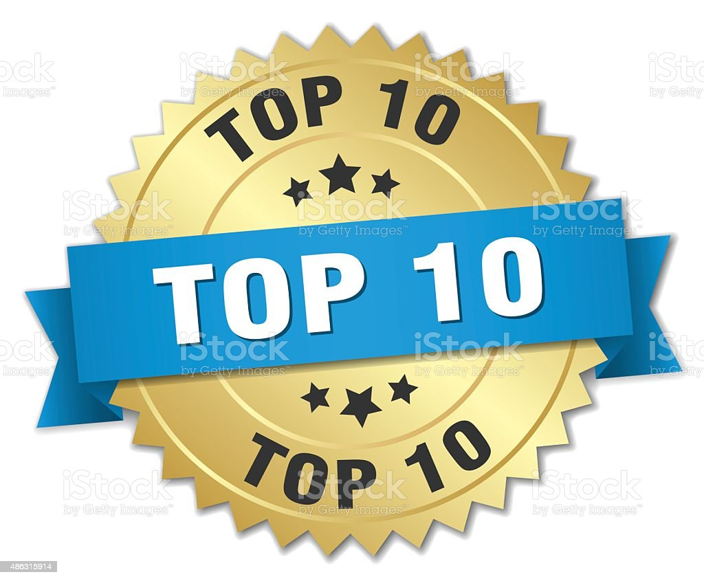 top 10 3d gold badge with blue ribbon vector art illustration