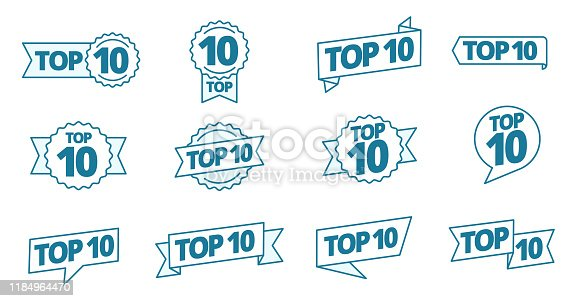 Top 10 heading title icon set. Best ten list. Word on ribbon. Winner tape award text title. Contour blue line. Vector Illustration headline clipart.