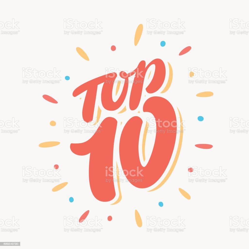 Top 10. Lettering vector art illustration