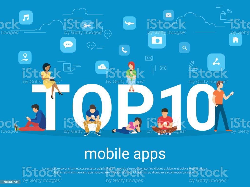 Top 10 mobile apps and people with gadgets using smartphones vector art illustration
