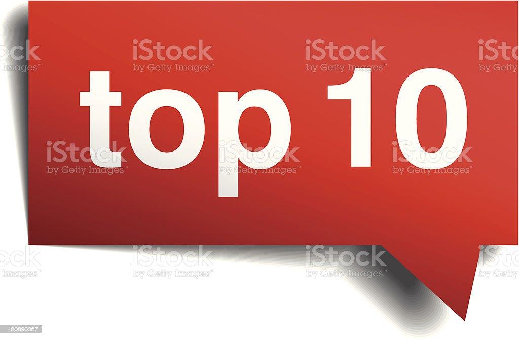 Top 10 red 3d realistic paper speech bubble vector art illustration