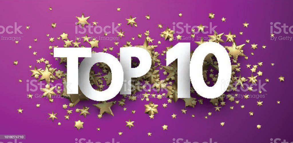 Top 10 sign with gold stars. Rating header. vector art illustration