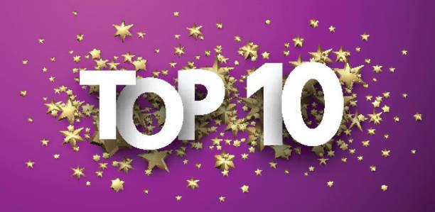 Top 10 Zeichen mit goldenen Sternen. Rating-Header. – Vektorgrafik