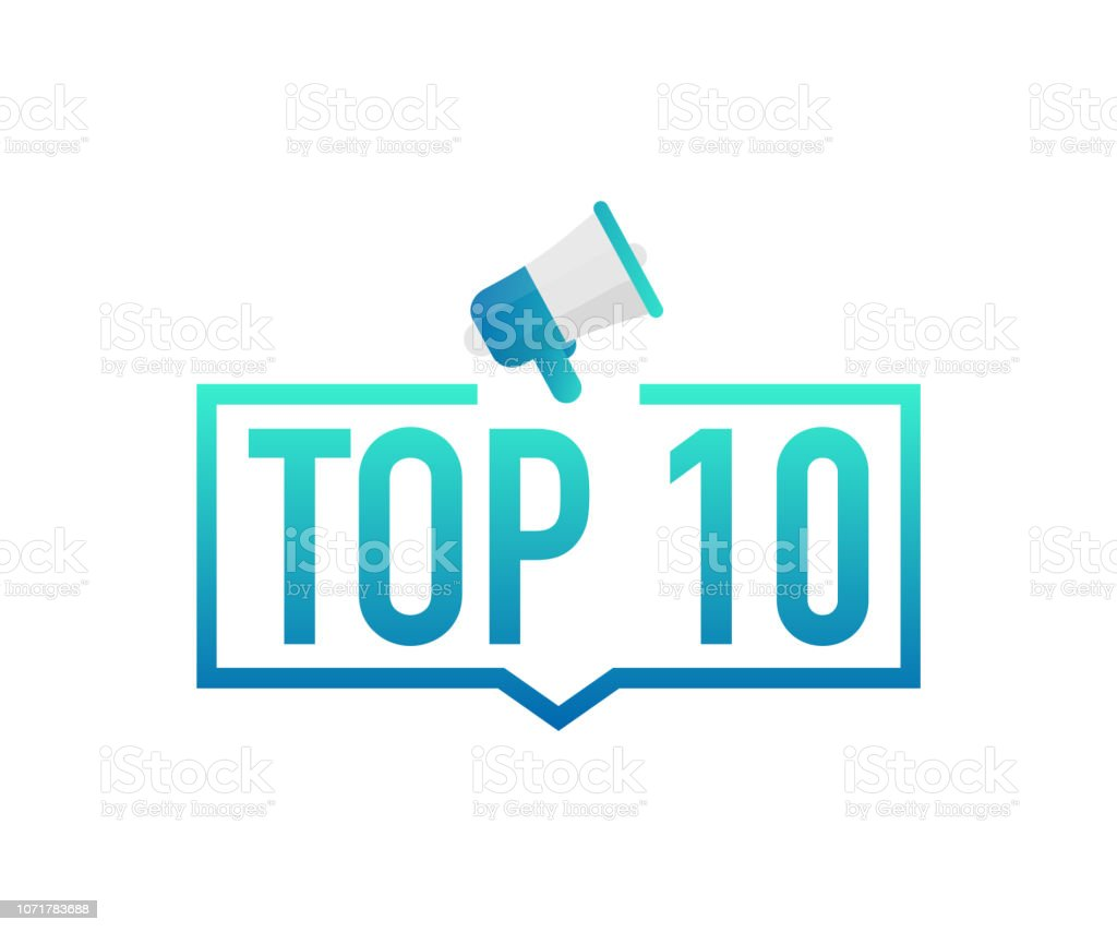 Top 10 - Top Ten colorful label on white background. Vector stock illustration. vector art illustration