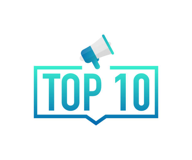 Top 10 - Top Ten colorful label on white background. Vector stock illustration. Top 10 - Top Ten colorful label on white background. Vector stock illustration. mountain top stock illustrations