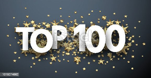 Top 100 sign with gold stars. Rating or hit-parade header. Vector background.