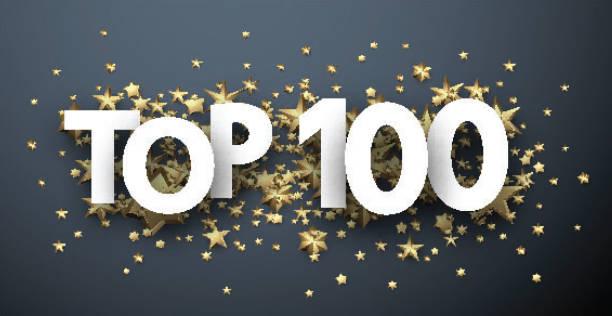 bildbanksillustrationer, clip art samt tecknat material och ikoner med topp 100 tecken med guldstjärnor. värdering-huvud. - nummer 100