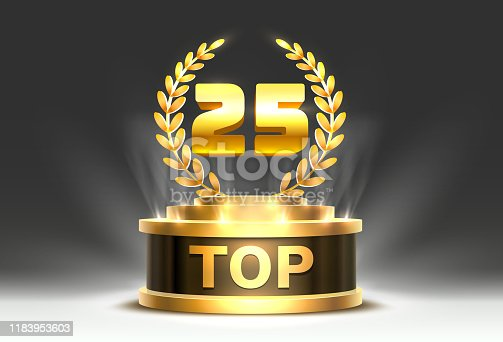Top 25 best podium award sign, golden object. Vector illustration