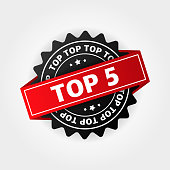 Top 5. Best ten list on white background