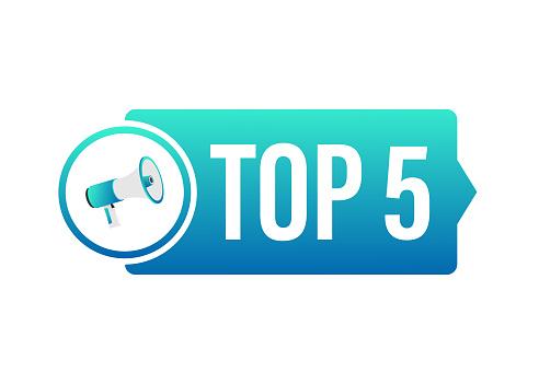 Top 5 label. Golden laurel wreath icon. Vector stock illustration