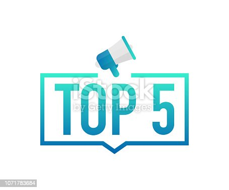 Top 5 - Top Five colorful label on white background. Vector stock illustration.