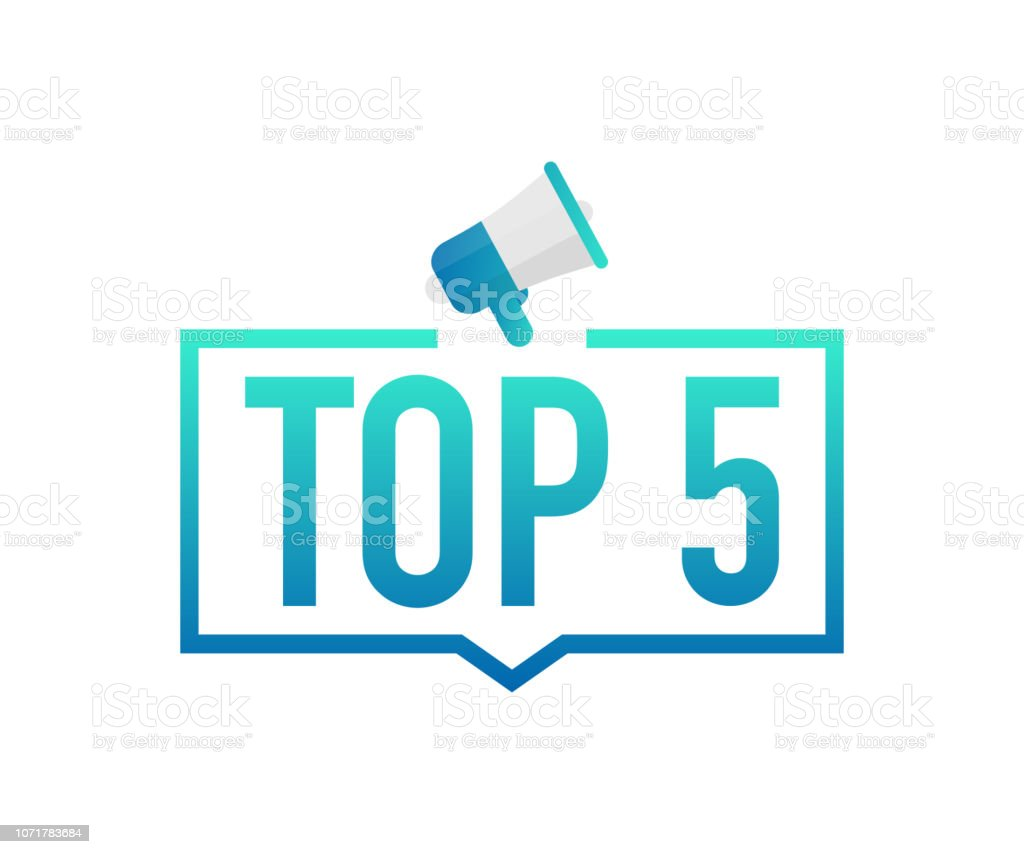 Top 5 - Top Five colorful label on white background. Vector illustration. vector art illustration
