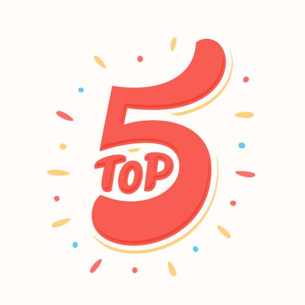 stockillustraties, clipart, cartoons en iconen met top 5. vector belettering. - vijf dingen